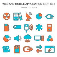 Web and mobile application icon set for computing, data storage, search engine optimization, technology