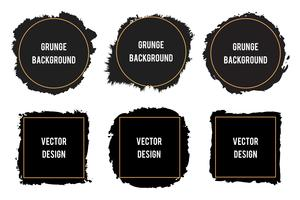 Black ink brush stain frames,brush strokes, banners, borders