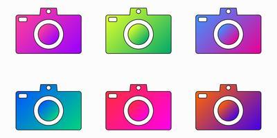 Fotocamera fotocamera brillante viola, blu, rosa, verde icona app sfumata - Vector set