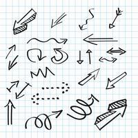Arrows hand-drawn icons, abstract doodle writing design