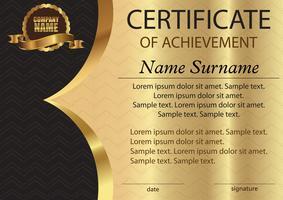 Certificaat of diploma. Sjabloon op een gouden achtergrond. Prijswinnaar. Beloning. De competitie winnen. De tekst op afzonderlijke lagen.