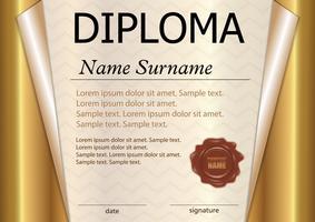Diploma of certificaatsjabloon. Prijswinnaar. De competitie winnen. Beloning. Goud gekruld papier. De tekst op een aparte laag.