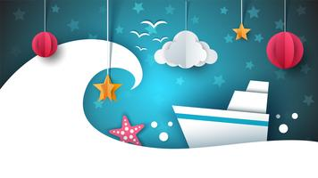 Paper origami illustration. Ship, cloud, star, moon.