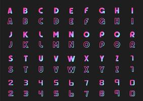 Vector set of letters of the alphabet and numbers, neon style