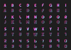 Vector conjunto de letras do alfabeto e números, estilo de néon