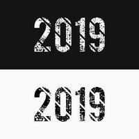 Monocromático abstrato número 2019 estilo grunge, preto e branco