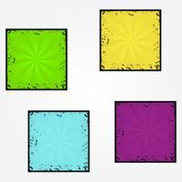 Set of sunburst retro texture grunge vector backgrounds, bright colors
