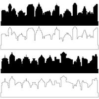Black and linear city silhouettes, vector set of different black horizontal cityscapes