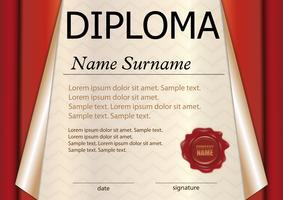 Diploma of certificaatsjabloon. Prijswinnaar. De competitie winnen. Beloning. Rood gekruld papier. De tekst op een aparte laag.