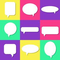 Set of white speech bubbles with shadows, icons set