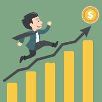 Concept for dollar raising. Successful businessman climbing up growing chart