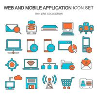 Web- och mobilapplikationsikon inställd för databehandling, datalagring, sökmotoroptimering, teknik