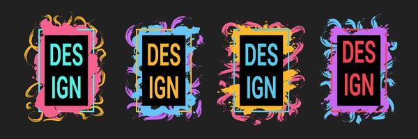 Gráficos de arte moderno, marcos con pinceladas coloridas para texto, estilo hipster
