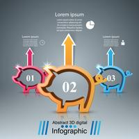 Pig, 3d coin - business infographic.