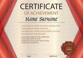Rood horizontaal certificaat of diplomamalplaatje met wasverbinding. De tekst op afzonderlijke lagen. Beloning. De competitie winnen. Prijswinnaar.
