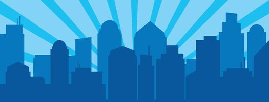 Blue sunrise and modern silhouette city in Pop art style