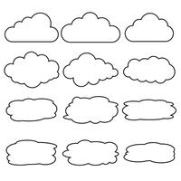 Vector set of different cloud line icons