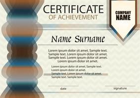 Certificado de realização ou modelo de diploma. Horizontal. Recompensa. Vencedor do prêmio. Ganhando a competição.