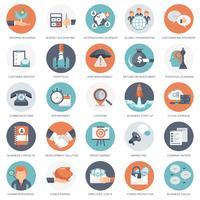 Conjunto de ícones de negócios, gestão e finanças