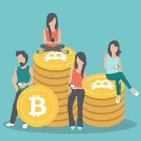 Bitcoin concept vector illustration of young people using laptop and smartphone for online funding and making investments for bitcoin