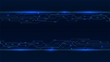 Banner from blue glowing neon circuit board lines