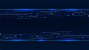 Fahne von den blauen glühenden Neonleiterplattenlinien