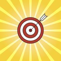 Retro stralen en doel met pijl, achtergrond pop-artstijl