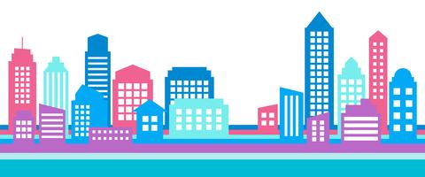 Horizontal colorful cityscape banner, modern architecture