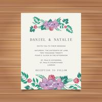 Wedding card invitation with flower decoration