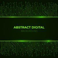 Hightech- Hintergrund von den grünen glühenden Neonleiterplattenlinien des Computers