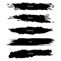Vector set of black textured brush strokes isolated on white background
