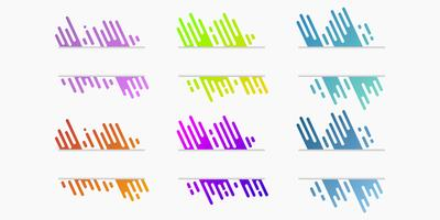 Vector set of cut paper banners with dynamic gradient rounded lines