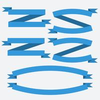 Insieme vettoriale di banner vintage blu nastri piatti