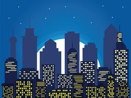 Silueta nocturna de la ciudad y luna llena con estrellas, estilo de dibujos animados