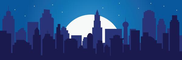 Silueta nocturna de la ciudad y luna llena con estrellas.