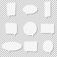 White paper speech bubble vector icons