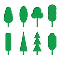 Vector set of green paper tree icons