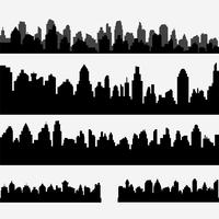 Vector set of black different horizontal cityscape