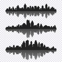 Vector set of different black horizontal cityscape with reflection