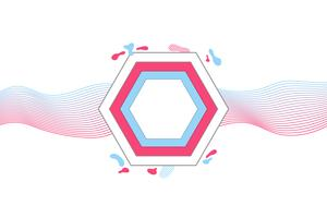 Modern geometric banner with flat shapes, trendy pink and blue colors