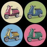 Set of colorful retro scooter icons