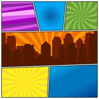Comic book page template with different radial backgrounds and city silhouette