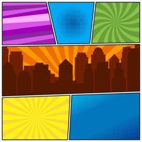 Comic book sidmall med olika radiala bakgrunder och stadssilhouette