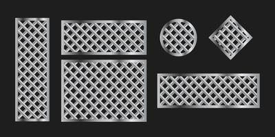 Metal grilles frames on black background, vector set