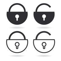 Vektor lås kontur ikonen och svart lås ikon isolerad på vitt
