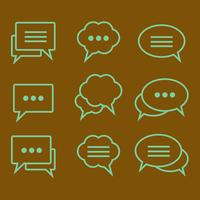 Set of linear icons speech bubbles vector