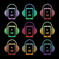 Set of concept music icons - headphones with player