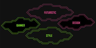 Vector set of geometric linear neon banners,frames