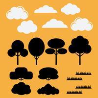 Vektor uppsättning silhuetter platt träd, buskar, gräs och moln