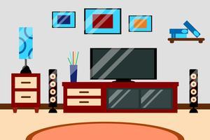 Spazio di lavoro creativo design piatto moderno soggiorno con TV e mobili